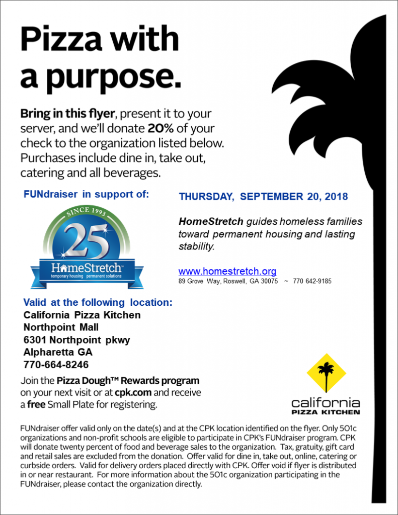 California Pizza Kitchen Fundraiser for HomeStretch